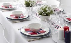 17 mai pynt  bord Constitution Day, I Party, Tea Time, Table Settings, Dining, 1, Parties, Fiestas, Food