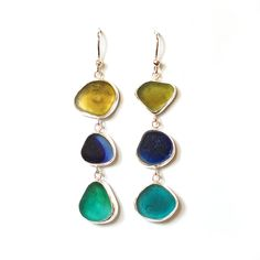 Sea Glass 'Multis' Three Drop Earrings in mustard, navy and green