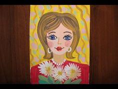 Как нарисовать портрет мамы гуашью поэтапно для детей 5-8 лет. - YouTube