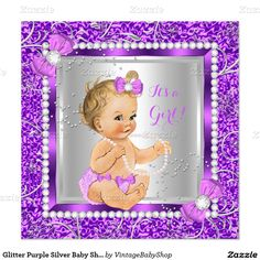Glitter Purple Silver Baby Shower Girl Blonde Invitation