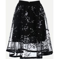 SheIn(sheinside) Blossom Print Mesh Overlay Midi Skirt - Black ($18) ❤ liked on Polyvore featuring skirts, bottoms, black, long flared skirt, midi flare skirt, flare skirt, flared midi skirt and vintage floral skirt