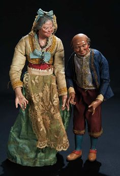 Let the Music Begin!: 54 Two Early Neopolitan Villagers Depicting Grey-Haired Woman and Bald Man