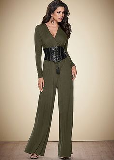 f354a44fa Be the center of attention in this jumpsuit! Venus faux leather trim  jumpsuit with Venus