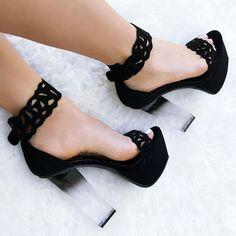 Cut Out Clear Platform High Heels
