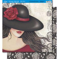 Página para Scrapbook Dupla Face Litoarte 30,5 x 30,5 cm - Modelo SD-334 Mulher/Floral - CasaDaArte
