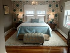 Eggshell blue, white, and neutral bedroom.