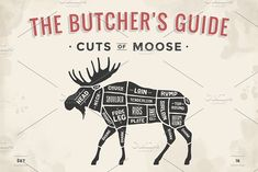 Butcher diagram, scheme - Moose by FoxysGraphic on Creative Market - Hunting - Fleisch Moose Meat, Moose Hunting, Wild Game Recipes, Meat Recipes, Emergency Preparedness, Survival, Metzger, Bear Silhouette, Meat Markets