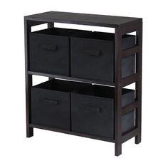 Capri 2-Section M Storage Shelf with 4 Foldable Black Fabric Baskets