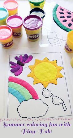 "Summer coloring fun with Play-Doh! Use laminated coloring pages to ""color"" in with play-doh featuring summery images like a beach scene, fireworks, etc."