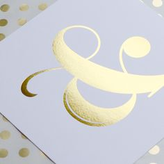Gold foiled ampersand print in stock now! So cute hung in a frame or even washi taped to a bulletin board! Gift Ribbon, Gift Bows, Vintage Typography, Typography Design, Pattern Design, Print Design, Art Print, Greeting Card Shops, Project Life Cards