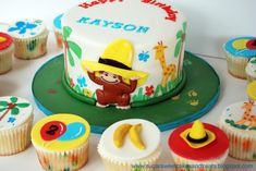 Curious George Cake and Cupcakes by Sugar Sweet Cakes Treats (Angela Tran) Curious George Cakes, Curious George Party, Curious George Birthday, Sweet Cakes, Cute Cakes, Jungle Theme Cakes, Beach Cakes, Fancy Cakes, Crazy Cakes