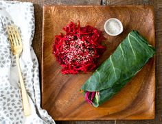 a perfectly raw and tasty lunch- collard wraps! - a house in the hills - interiors, style, food, and dogs