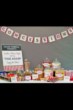 """Idea for teen birthday party - movie night - bad link like the """"Chase Cinema"""" sign Backyard Movie Party, Outdoor Movie Party, Backyard Movie Nights, Movie Night Party, Party Time, Night Parties, Backyard Birthday, Theme Parties, Usa Party"""