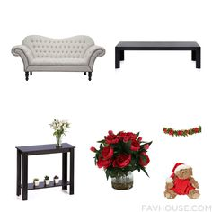 Decor Products Including Dot & Bo Sofa Black Coffee Table Accent Table And Faux Floral From December 2016 #home #decor