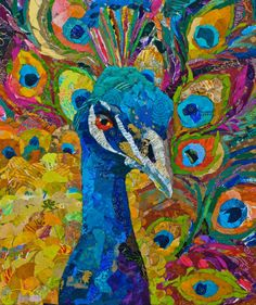 peacock paper collage- this would be beautiful in oil medium