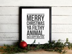 Home Alone Movie Quote Poster - Merry Christmas Ya Filthy Animal - Funny Typographic Christmas Print, Holiday Wall Art & Mantle Decor on Etsy, $12.00