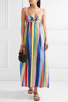 Mara Hoffman - Tie-front Striped Organic Linen Maxi Dress - Blue - US12