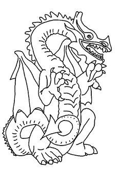 Un grand dragon qui se met assis, dessin à colorier