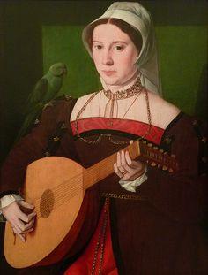 """PAYS-BAS 16e - Portrait de Femme jouant du Luth - 0  -  TAGS / art painter peintre details détail détails detalles painting paintings peinture  """"peinture 16e"""" """"16th-century paintings"""" """"peinture hollandaise"""" """"peintres hollandais"""" """"Dutch painters"""" tableaux """"master of the 1540s"""" """"Maître des années 1540"""" lute musician musicienne portraits figures people femme women woman """"jeune femme"""" """"young woman"""" """"young women"""" face visage perroquet parrot guitare guitar music musique instrument"""