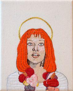 Handmade embroidered portrait of Leeloo - fifth element by me! nightbirdneedle.com