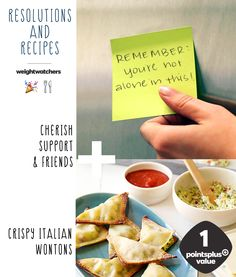 """2015 Resolution Recipes #6: Cherish Support & Friends + DIY Crispy Italian Wontons. Wontons are one of the best recipes to make with friends and kids. It's fun, interactive, and so easy to just fill and fry. This filling has ricotta cheese, mozzarella, and pesto. """"You are the average of your 5 closest friends,"""" have a dumpling/wonton making party this new year with all of them and enjoy as 1 PointsPlus!"""