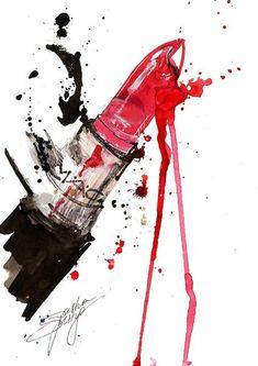 MAC Art Print by sashaspring Art Pop, Murciano Art, Desenho Pop Art, Makeup Illustration, Image Deco, Fashion Wall Art, Beauty Art, Watercolor Art, Graphic Art
