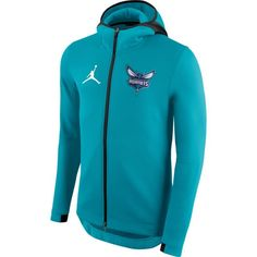 8ff0bee6172e Jordan Men s Charlotte Hornets On-Court Teal Therma Flex Showtime Full-Zip  Hoodie