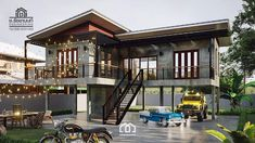 Raised platform L-shaped house with two bedrooms and spacious veranda - Cool House Concepts Stilt House Plans, House On Stilts, Modern House Plans, Modern House Design, Thai House, Cottage House Plans, Cottage Homes, Style At Home, Bungalow Haus Design