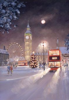 A snowy winter Christmas scene of the Capital city - London with traditional red bus rushing through the storm with Big Ben and the London Eye in the background Christmas Scenes, Christmas Pictures, Christmas Art, Beautiful Christmas, London Christmas Lights, Christmas Houses, Winter Christmas, London Snow, London Bus