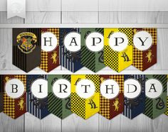 "Harry Potter Inspired Printables // ""Happy Birthday"" Banner // Instant Download on Etsy, $14.81 CAD"