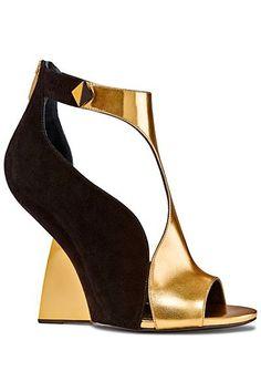 Sergio Rossi Black Suede & Gold Metal Wedge Sanda   Spring Summer 2014 #Shoes #Wedges