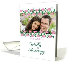 Custom photo wedding anniversary invitation with pink roses card