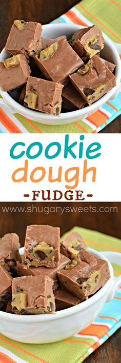 This Chocolate Cookie Dough Fudge is easy to make thanks to a roll of refrigerated cookie dough. One bite of perfection coming right up! Fudge Recipes, Candy Recipes, Best Dessert Recipes, Just Desserts, Sweet Recipes, Cookie Recipes, Delicious Desserts, Yummy Food, Cookie Dough Fudge