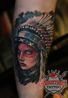 Latest work from Ivan Bor at hammersmith tattoo, realistic Colour girls face in native American face paint and headdress#hammersmithtattoo#...