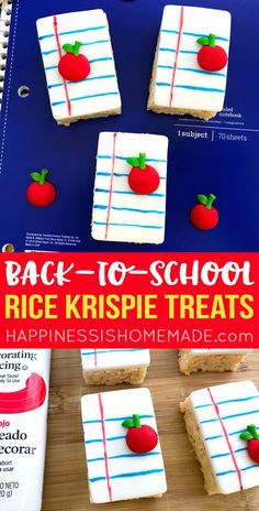Back-to-School Rice Krispie Treats: These adorable notebook Rice Krispie Treats make the perfect back-to-school treat for classrooms! Celebrate the First Day of School or Teacher Appreciation Day with this easy-to-make sweet treat! School Cake, School Treats, After School Snacks, School Lunch, Rice Krispies, Rice Krispie Treats, Back To School Party, First Day Of School, Teacher Appreciation