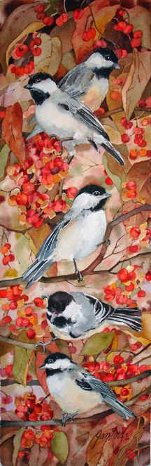 Chickadees and Bittersweet by Jan Ford. Mass. state bird! My favorite. <3