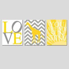 Modern Nursery Trio - Set of Three 8x10 Prints - You Are My Sunshine, LOVE Typography, Chevron Giraffe - Yellow, Gray, White, and More. $55.00, via Etsy.