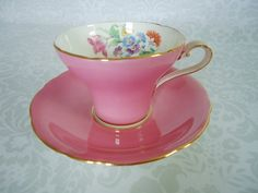 Bright Pink Tea Cup and Saucer / Vintage Aynsley Corset Shape Teacup and Saucer Pink Coffee Cups, Pink Tea Cups, Tea Cup Set, Tea Sets, Vintage Cups, Vintage China, Vintage Tea, Antique China, Tea Service