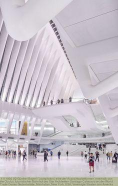 eine der Aussichtsplattformen innerhalb von the Oculus, futuristischer Bahnhof des Star Architekten Santiago Calatrava bei der World Trade Center Gedenkstätte, Manhattan, New York, USA, Vereinigte Staaten von Amerika