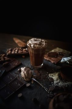 Dark strong chocolate coffee with cream