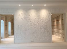 Foster Reeve specializes in all kinds of plaster products including mouldings, plaster wall finishes, tracery ceilings, shapeform, and HVAC Grilles. Carving Designs, Wall Finishes, Plaster Walls, Wall Treatments, Cool Rooms, Texture Art, Wall Murals, Wall Art, Wall Design