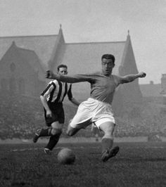 Everton's Dixie Dean scores against Grimsby at Goodison Park in 1930
