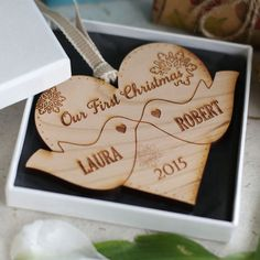 Personalised Christmas Tree Decoration Our First Christmas Kissing Doves Bauble