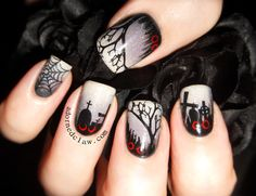 Spooky Halloween Nail Art Designs Best Nails Halloween is a very interesting celebration, we can increase our creativity for the costumes we will wear. Maybe you have prepared your mask and costu. Funky Nail Art, Funky Nails, Cute Nails, Pretty Nails, Gorgeous Nails, Halloween Nail Designs, Halloween Nail Art, Spooky Halloween, Flower Nail Designs