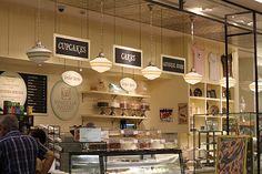 Lovely bakery style= lovely kitchen style? Bakery Sign, Bakery Interior, Bakery Kitchen, Pastry Shop, Cake Shop, Bar Lighting, Cottage Style, Decorating Tips, Cupcake Cakes