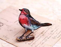 Red Robin Brooch bird jewelry wooden bird by RubyRobinBoutique, €15.00