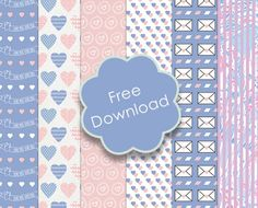 Free printable Trimcraft Valentines Papers with Craft Tutorials - Pantone Colours of the year 2016 Rose Quartz and Serenity Blue