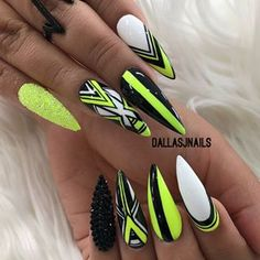 Edgy Nails, Neon Nails, Stylish Nails, Stiletto Nails, Gorgeous Nails, Pretty Nails, Luxury Nails, Fire Nails, Best Acrylic Nails