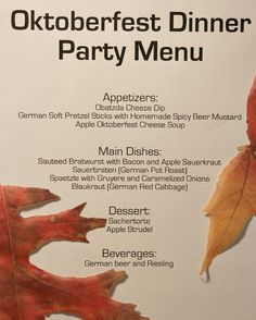 Oktoberfest Menu for a dinner party. All recipes and more can be found on RecipeGirl.com