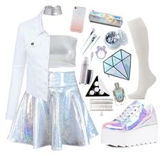 """Holographic"" by elise-the-emo-kitty ❤ liked on Polyvore featuring Charlotte Russe, Hanes, Y.R.U., MAC Cosmetics, Kat Von D, Unicorn Lashes, In Your Dreams, Forever 21, LE3NO and Rebecca Minkoff Girls Fashion Clothes, Kids Outfits Girls, Cute Girl Outfits, Cute Outfits For Kids, Teen Fashion Outfits, Cute Casual Outfits, Pretty Outfits, Trendy Fashion, Holographic Fashion"